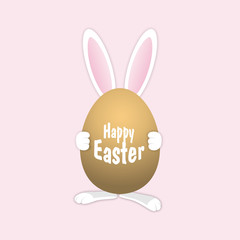 Easter Rabbit with egg. Easter Bunny with egg. Template greeting card. Happy Easter