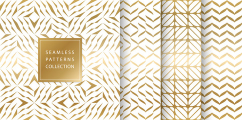 Set of golden seamless patterns. Vector texture design. Abstract seamless geometric pattern on white background. Simple minimalistic gold print collection. Web page fill modern hipster geometry. Wall mural
