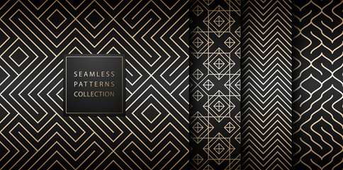 Geometric seamless golden pattern background. Simple vector graphic black print. Repeating line abstract texture set. Minimalistic shapes. Stylish trellis square gold grid. Geometry web page fill.