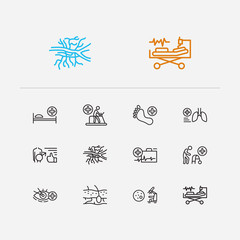 Medicine icons set. Angiology and medicine icons with pathology, pulmonology and intensive care medicine. Set of organism for web app logo UI design.