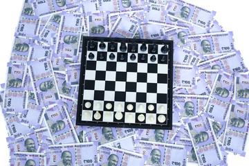 Picture of chess on the new Indian 100 rupees currency.