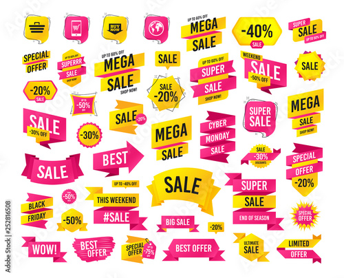 Sales banner  Super mega discounts  Online shopping icons