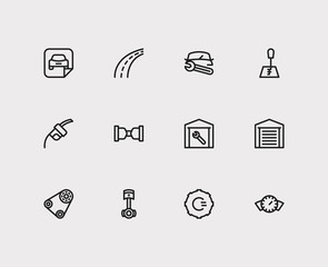 Service icons set. Gear logo and service icons with safe travel, fuel pump and car badge. Set of machinery for web app logo UI design.