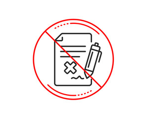 No or stop sign. Reject file line icon. Decline document sign. Delete file. Caution prohibited ban stop symbol. No  icon design.  Vector