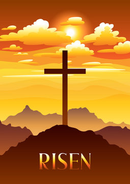 Risen. Easter illustration. Greeting card with cross and clouds.