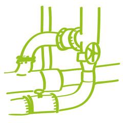 Handgezeichnete Rohre in hellgrün