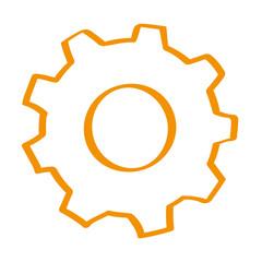Handgezeichnetes Zahnrad in orange