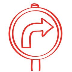 Handgezeichnetes Schild mit Pfeil nach rechts in rot