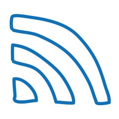 Handgezeichnetes RSS-Symbol in dunkelblau