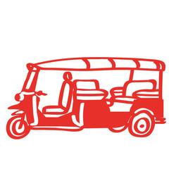 Handgezeichnetes TukTuk in rot