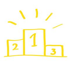 Handgezeichnetes Siegertreppchen in gelb