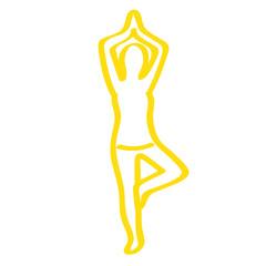 Handgezeichnete Frau macht Yoga in gelb