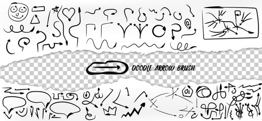 Big set of hand drawn arrow doodles isolated on white and transparent. Arrow brush. Torn paper edge. Vector elements