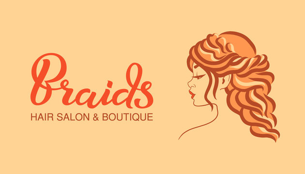 Illustration of woman with beautiful long hair style, icon, logo, badge. Woman line art silhouette on beige background, vector. Hand drawn lettering inscription - Braids.
