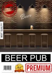 Realistic Pub Interior Poster