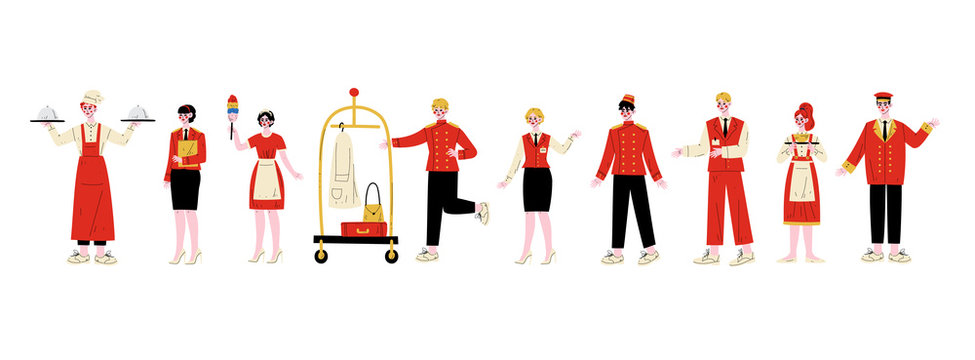 Hotel Staff Characters Set, Chef, Manager, Maid, Bellhop, Receptionist, Concierge, Waitress, Doorman in Red Uniform Vector Illustration