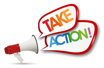 take action word and megaphone