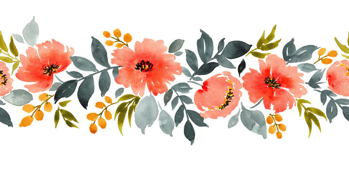 Watercolor horizontal seamless pattern with red flowers
