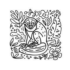 Hand drawn doodle style Night Monkey illustration with floral elements. Vector coloring book. For childrens books, clothes prints, textile.