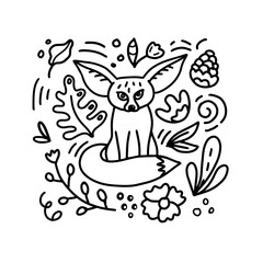 Cute Fennec Fox cartoon doodle hand-drawn style vector illustration. Coloring book With Floral elements composition.