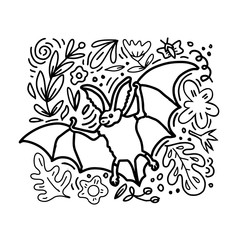 Cute long-eared bat illustration. Cartoon doodle hand-drawn style composition with floral elements. Vector kids coloting. book.