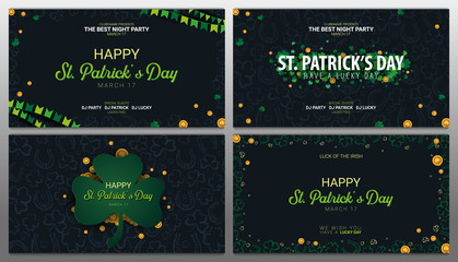 Saint Patricks Day banner. Clover leaves with coins on dark background. Vector Illustration.