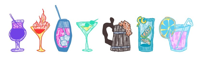 doodle alcoholic beverages colored bright interesting