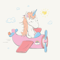 Lovely cute unicorn flies by the pink plane with butterfly. Summer series of children's card