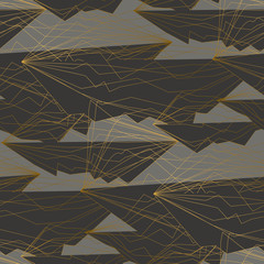 Thin golden lines and shapes seamless pattern