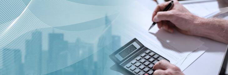 Obraz Hand using calculator, accounting concept. panoramic banner - fototapety do salonu