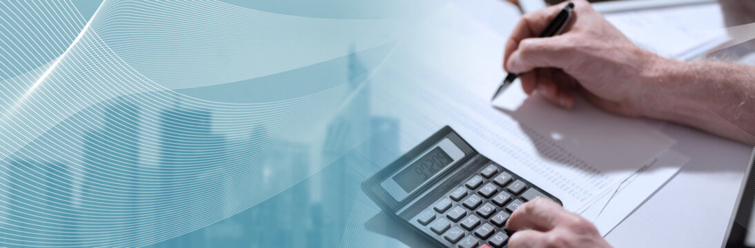 Hand using calculator, accounting concept. panoramic banner