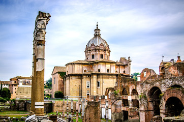 View of the Roman Forum under the blue sky. Rome. Italy.