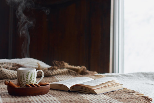 Home comfort concept. Hugge living room interior, cozy still life, a cup of hot tea with steam on a dark wood background with an open book and cinnamon cookies on a clay cup, light from the window