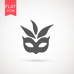 Carnival mask icon black silhouette isolated on white background. Mask with feathers pictogram. Vector illustration flat design