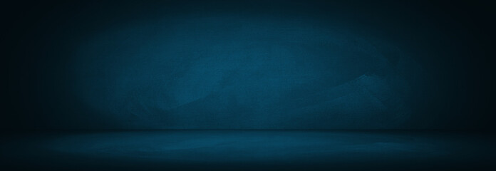 Fototapete - blue studio wall of chalkboard and showroom background for presentation product
