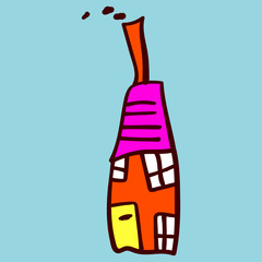 Kids painted houses in doodle style.