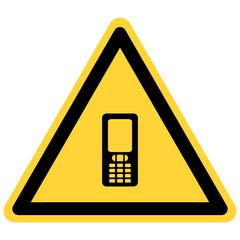 Handy und Warnschild