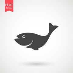 Fish icon. Fish logo template. Creative vector symbol of fishing club or online shop