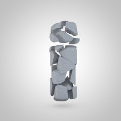 Concrete letter I lowercase stone font isolated on white background