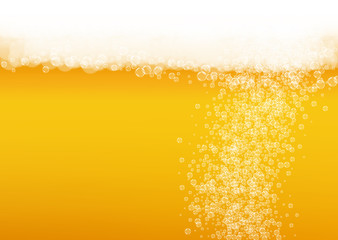 Oktoberfest background. Beer foam. Craft lager splash. pub banner layout. German pint of ale with realistic white bubbles. Cool liquid drink for Golden glass with oktoberfest.