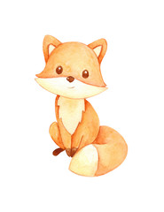 cute watercolor fox on white background