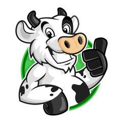 Cow mascot logo, vector of cow character for logo template, cartoon style