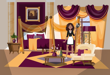 Hotel room interior. Maid in uniform cleaning