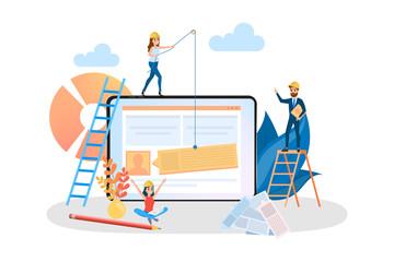Website development web banner. Support and development team