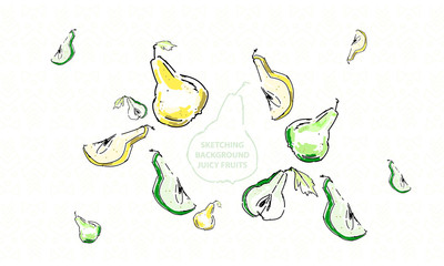 Pear sketch pattern drawing green yellow cartoon set fruit isolated vector vector juicy summer cider background