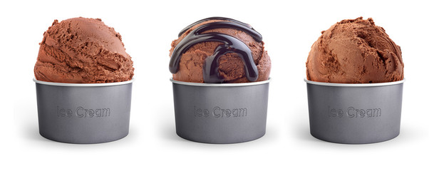 set chocolate ice cream in a paper cup