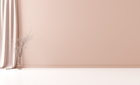 Wall mock up in empty interior background, room with pastel peach color wall, 3d render