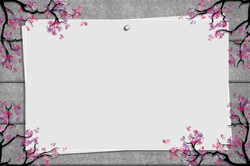 Relief board with photo and place for inscription. Cherry blossoms twigs. Spring frame. Inspiration board. Mockup with blooming trees. Vector, EPS 10