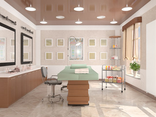 Fototapeta interior room with equipment in the clinic of dermatology and cosmetology. 3d illustration obraz