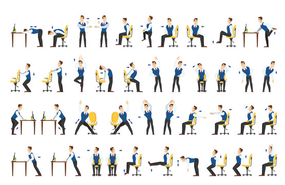 Office exercise set. Body workout for office
